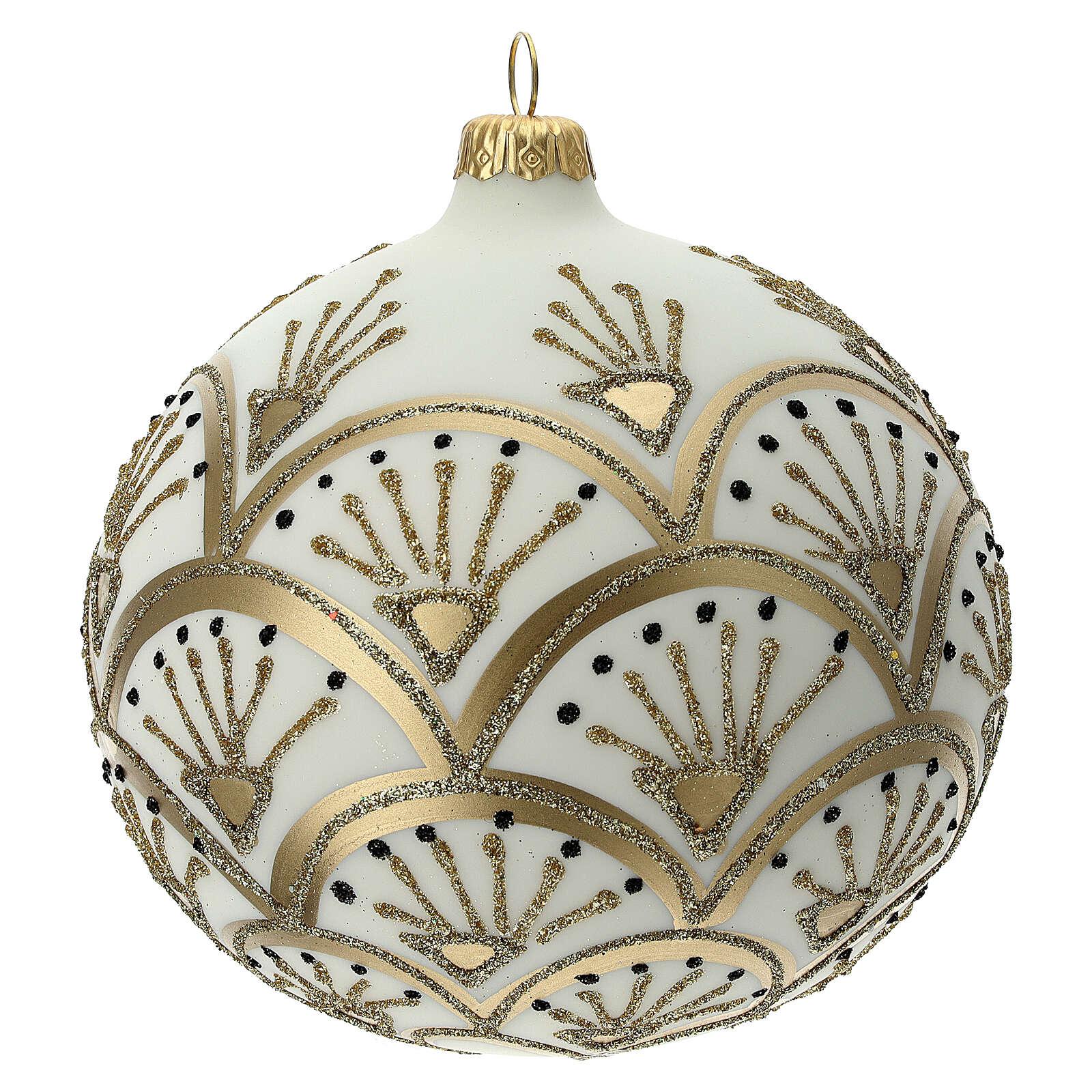 Pallina albero Natale bianco oro vetro soffiato 120 mm 4