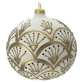 Pallina albero Natale bianco oro vetro soffiato 120 mm s1