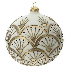 Pallina albero Natale bianco oro vetro soffiato 120 mm s3