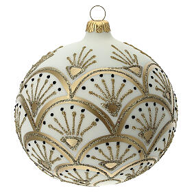 Pallina albero Natale bianco oro vetro soffiato 120 mm s4