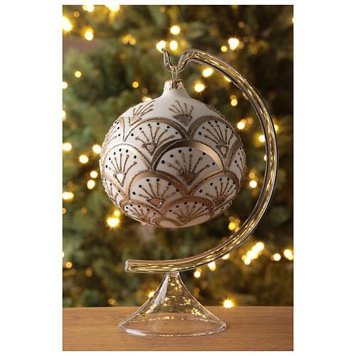 Pallina albero Natale bianco oro vetro soffiato 120 mm 2