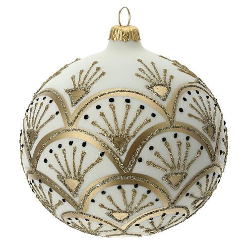Pallina albero Natale bianco oro vetro soffiato 120 mm 3