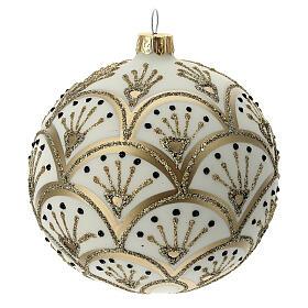 Boule Noël blanche éventails dorés verre soufflé 100 mm s1