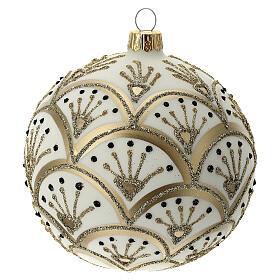 Boule Noël blanche éventails dorés verre soufflé 100 mm s3