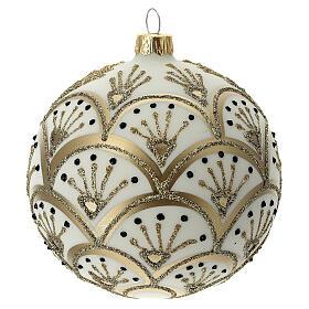 Boule Noël blanche éventails dorés verre soufflé 100 mm s4