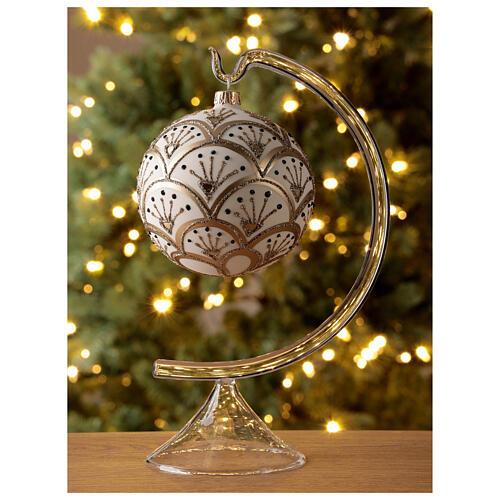 Boule Noël blanche éventails dorés verre soufflé 100 mm 2