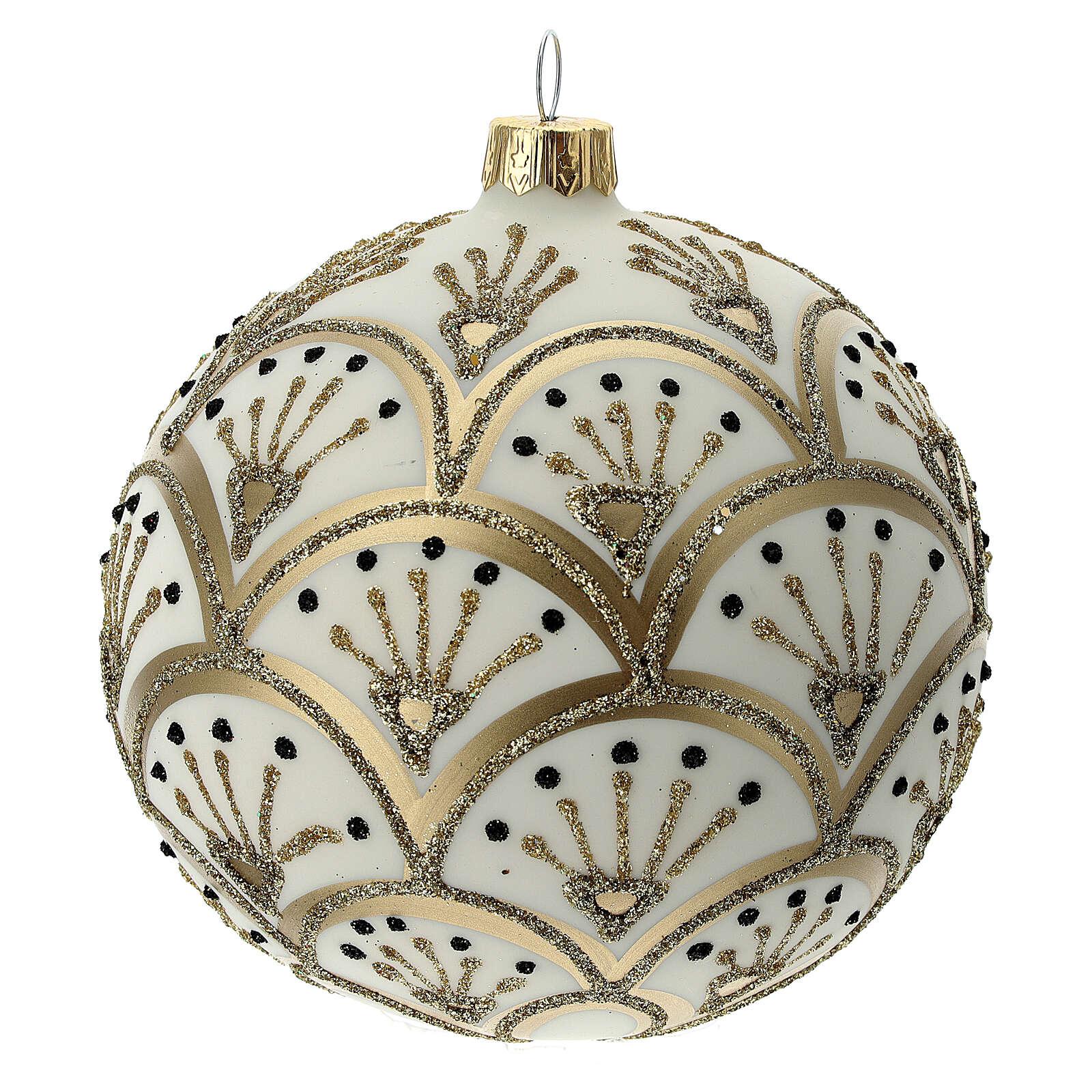 Bola árvore de Natal branco opaco com decoração leques dourados vidro soprado 100 mm 4