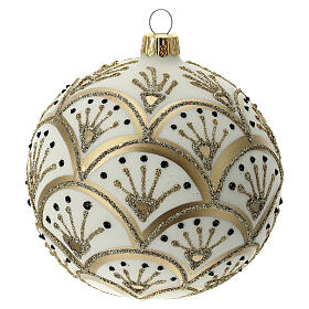 Bola árvore de Natal branco opaco com decoração leques dourados vidro soprado 100 mm s3