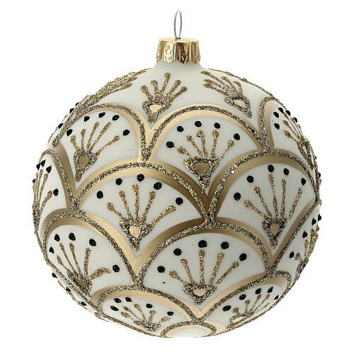 Bola árvore de Natal branco opaco com decoração leques dourados vidro soprado 100 mm 1