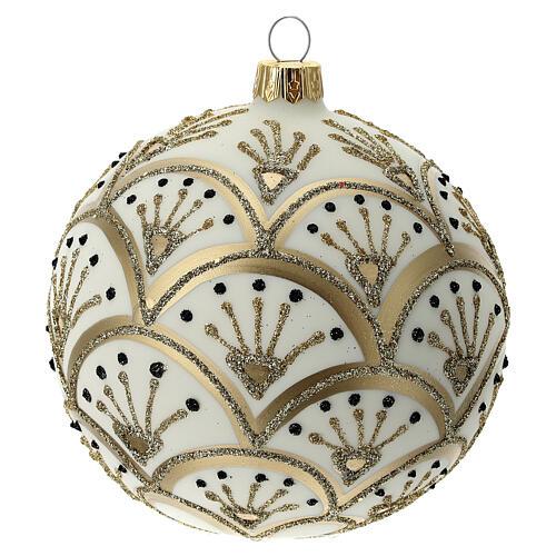 Bola árvore de Natal branco opaco com decoração leques dourados vidro soprado 100 mm 3