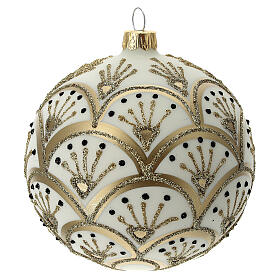 Christmas tree ornament golden white fans blown glass 100 mm s4