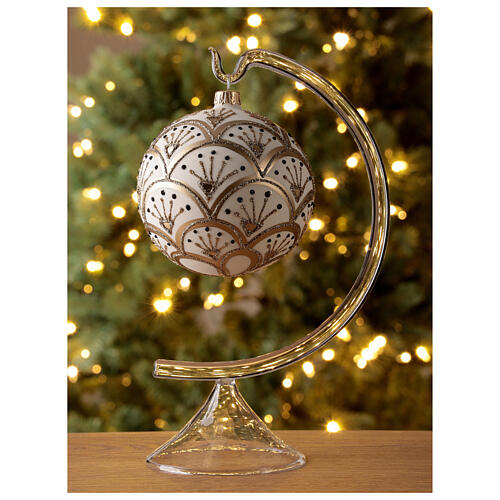 Christmas tree ornament golden white fans blown glass 100 mm 2
