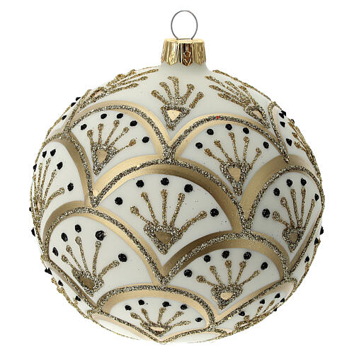 Christmas tree ornament golden white fans blown glass 100 mm 3