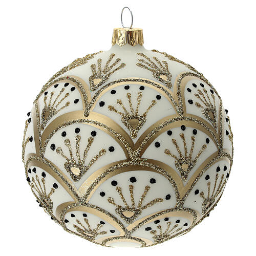 Christmas tree ornament golden white fans blown glass 100 mm 4