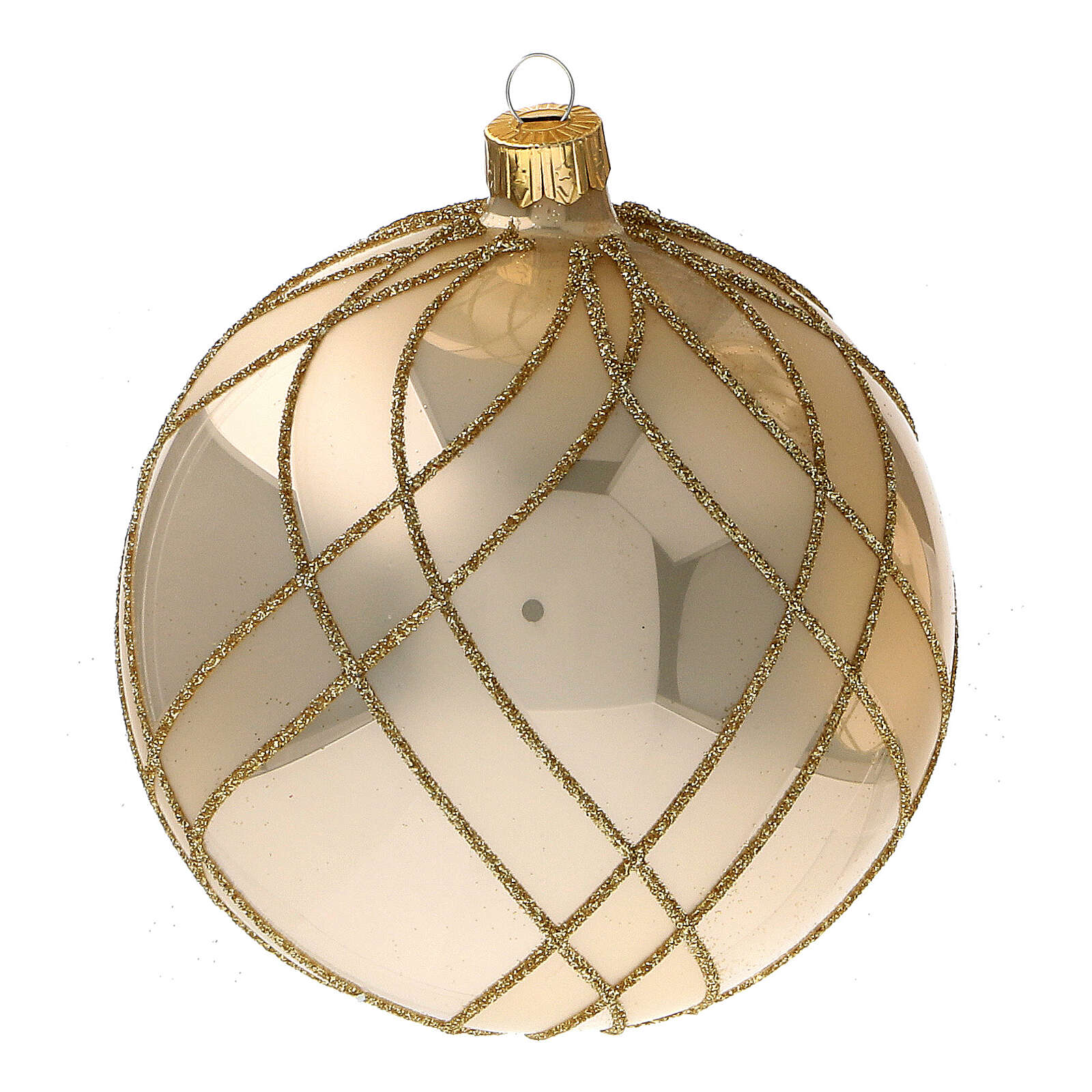 Christmas ball glossy gold interwoven decorations blown glass 100 mm 4