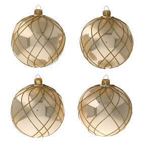 Christmas ball glossy gold interwoven decorations blown glass 100 mm s1
