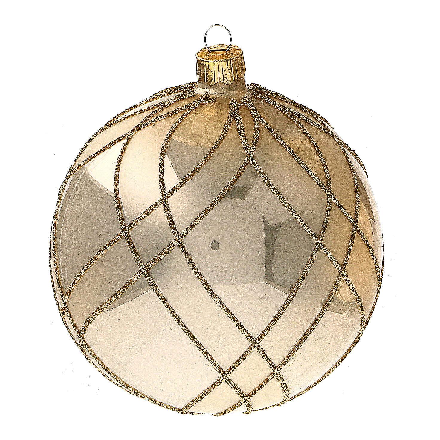 Bola Navidad oro lúcido motivos entrelazados vidrio soplado 100 mm - CONF 4 PIEZAS 4