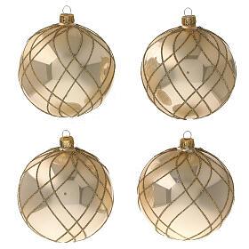 Bola Navidad oro lúcido motivos entrelazados vidrio soplado 100 mm - CONF 4 PIEZAS s1