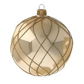 Bola Navidad oro lúcido motivos entrelazados vidrio soplado 100 mm - CONF 4 PIEZAS s2