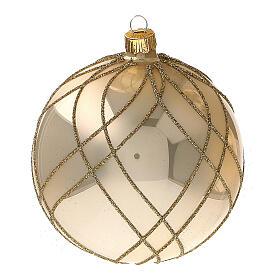 Bola Navidad oro lúcido motivos entrelazados vidrio soplado 100 mm - CONF 4 PIEZAS s3