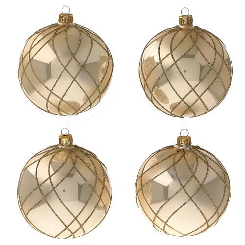 Bola Navidad oro lúcido motivos entrelazados vidrio soplado 100 mm - CONF 4 PIEZAS 1