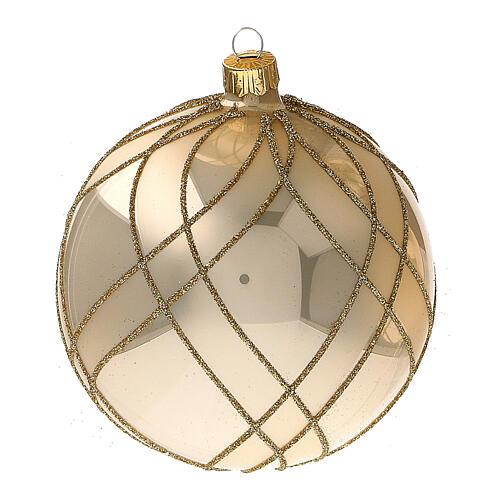 Bola Navidad oro lúcido motivos entrelazados vidrio soplado 100 mm - CONF 4 PIEZAS 3