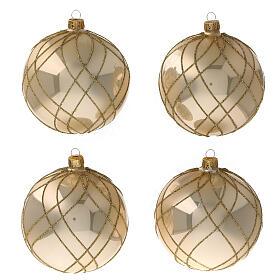 Bola árvore de Natal vidro soprado dourado com decorações entrelaçadas 100 mm s1