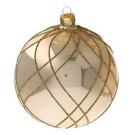 Bola árvore de Natal vidro soprado dourado com decorações entrelaçadas 100 mm s3