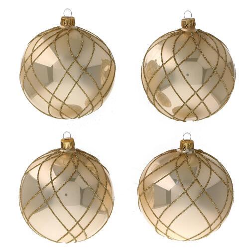 Bola árvore de Natal vidro soprado dourado com decorações entrelaçadas 100 mm 1