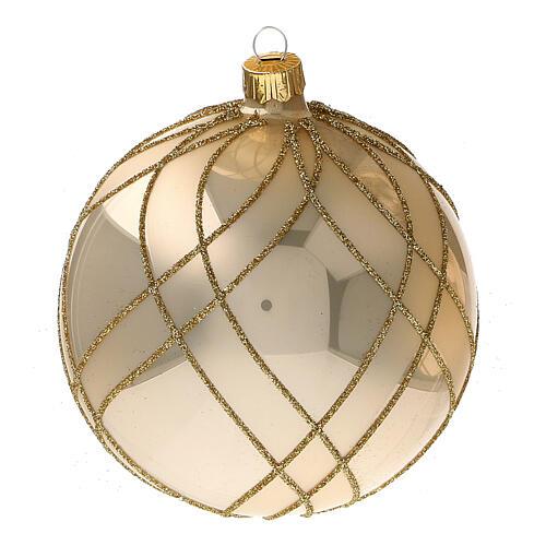 Bola árvore de Natal vidro soprado dourado com decorações entrelaçadas 100 mm 3
