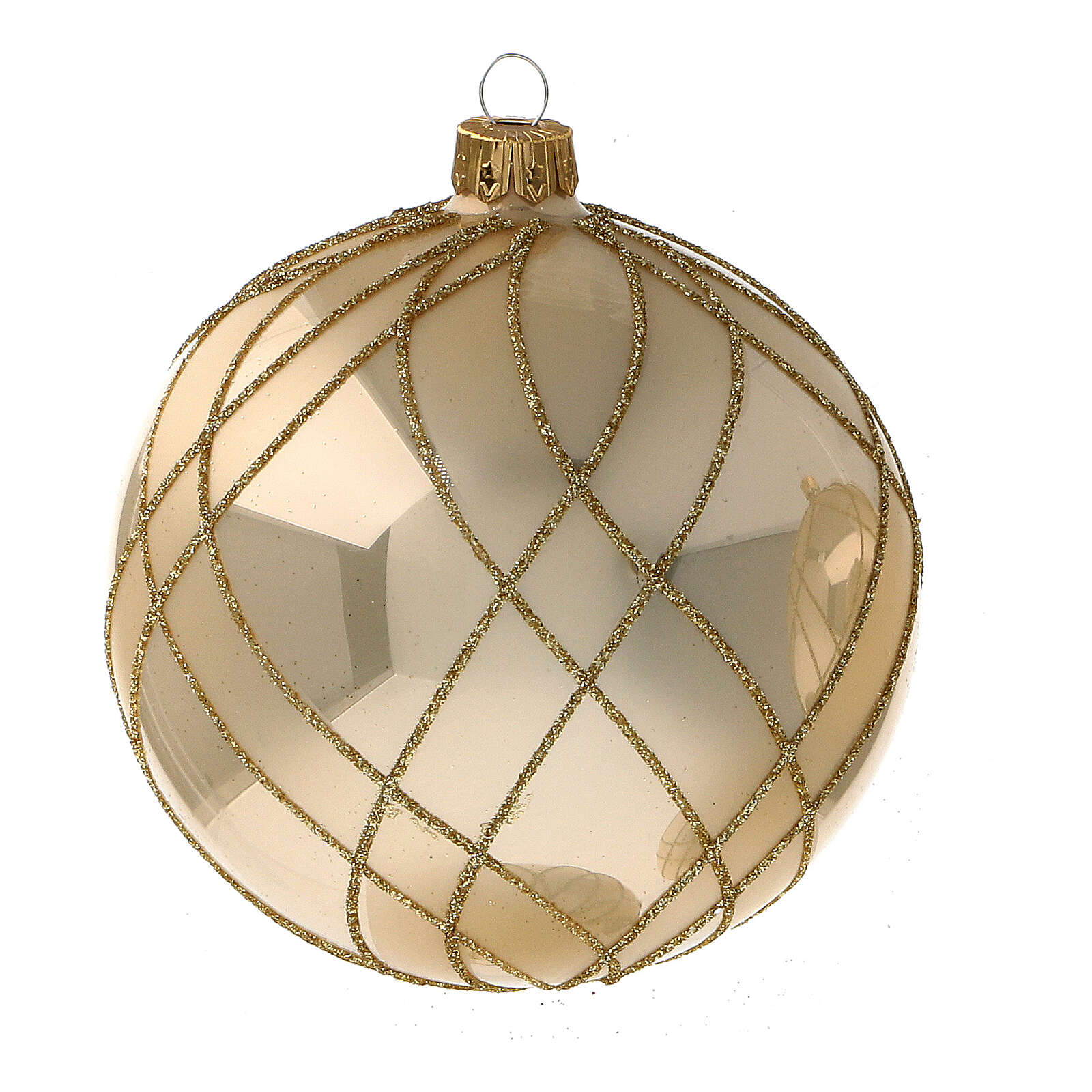 Glass Christmas ball shiny gold weave decor 100 mm 4