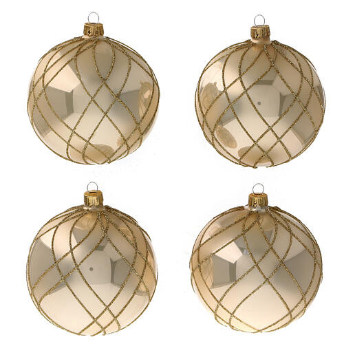 Glass Christmas ball shiny gold weave decor 100 mm 1