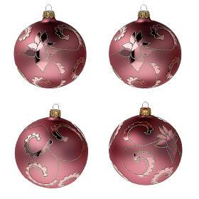 Christmas tree ball soft red flowers blown glass 100 mm, 4 pcs s1