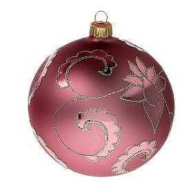 Christmas tree ball soft red flowers blown glass 100 mm, 4 pcs s2
