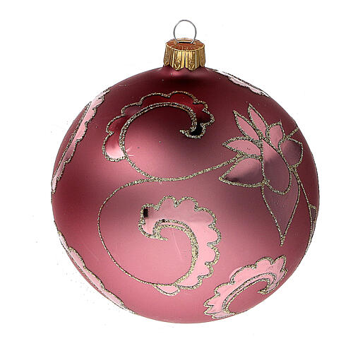 Bola árbol Navidad rojo suave flores vidrio soplado 100 mm - CONF 4 PIEZAS 2