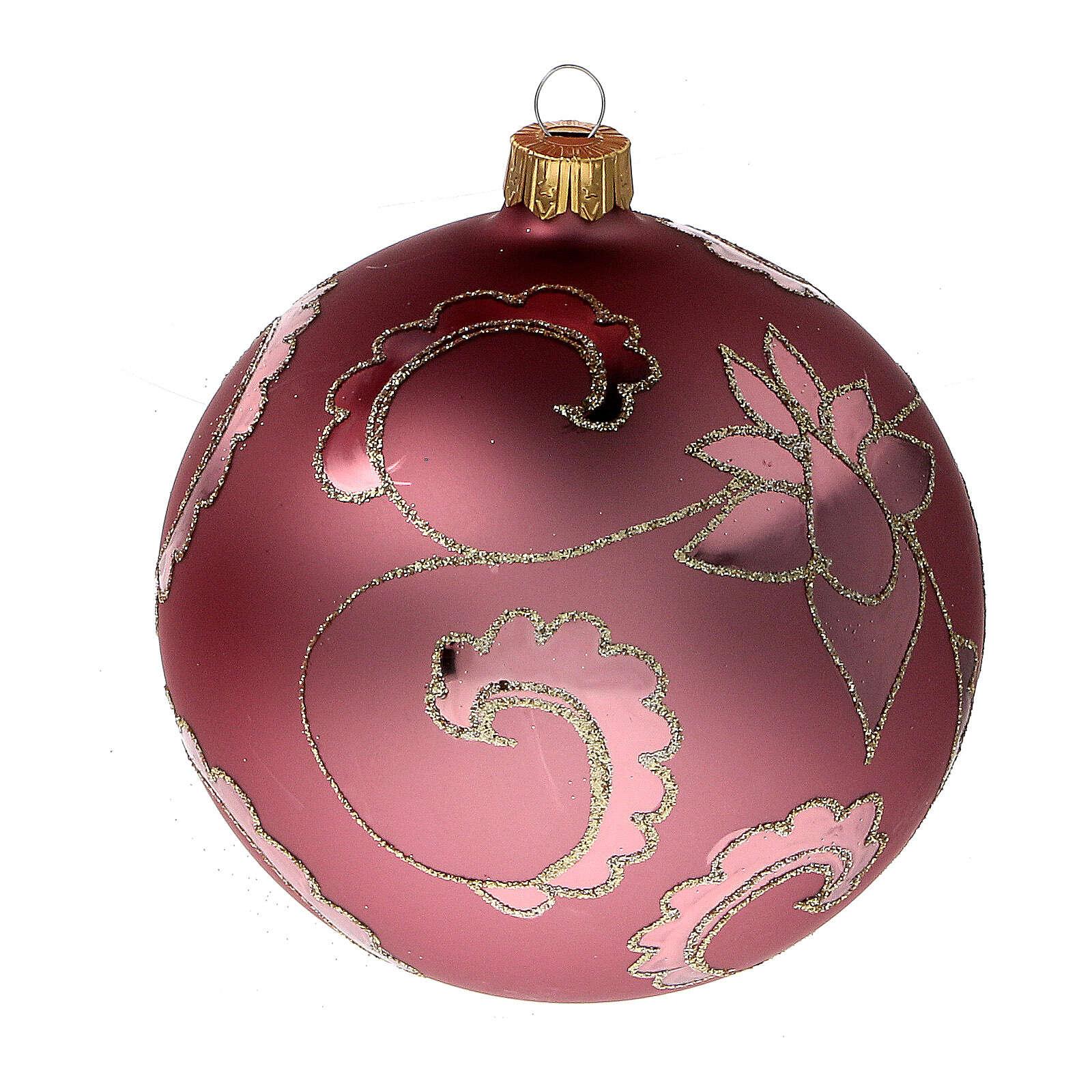 Boule sapin Noël rouge pale fleurs verre soufflé 100 mm 4
