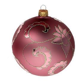 Boule sapin Noël rouge pale fleurs verre soufflé 100 mm s2
