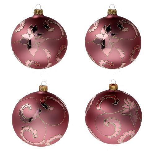 Boule sapin Noël rouge pale fleurs verre soufflé 100 mm 1
