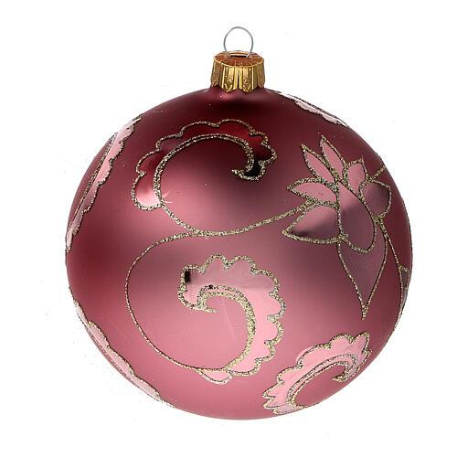 Boule sapin Noël rouge pale fleurs verre soufflé 100 mm 2