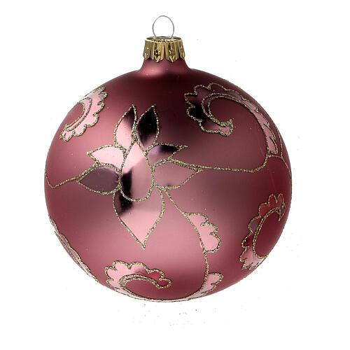 Boule sapin Noël rouge pale fleurs verre soufflé 100 mm 3