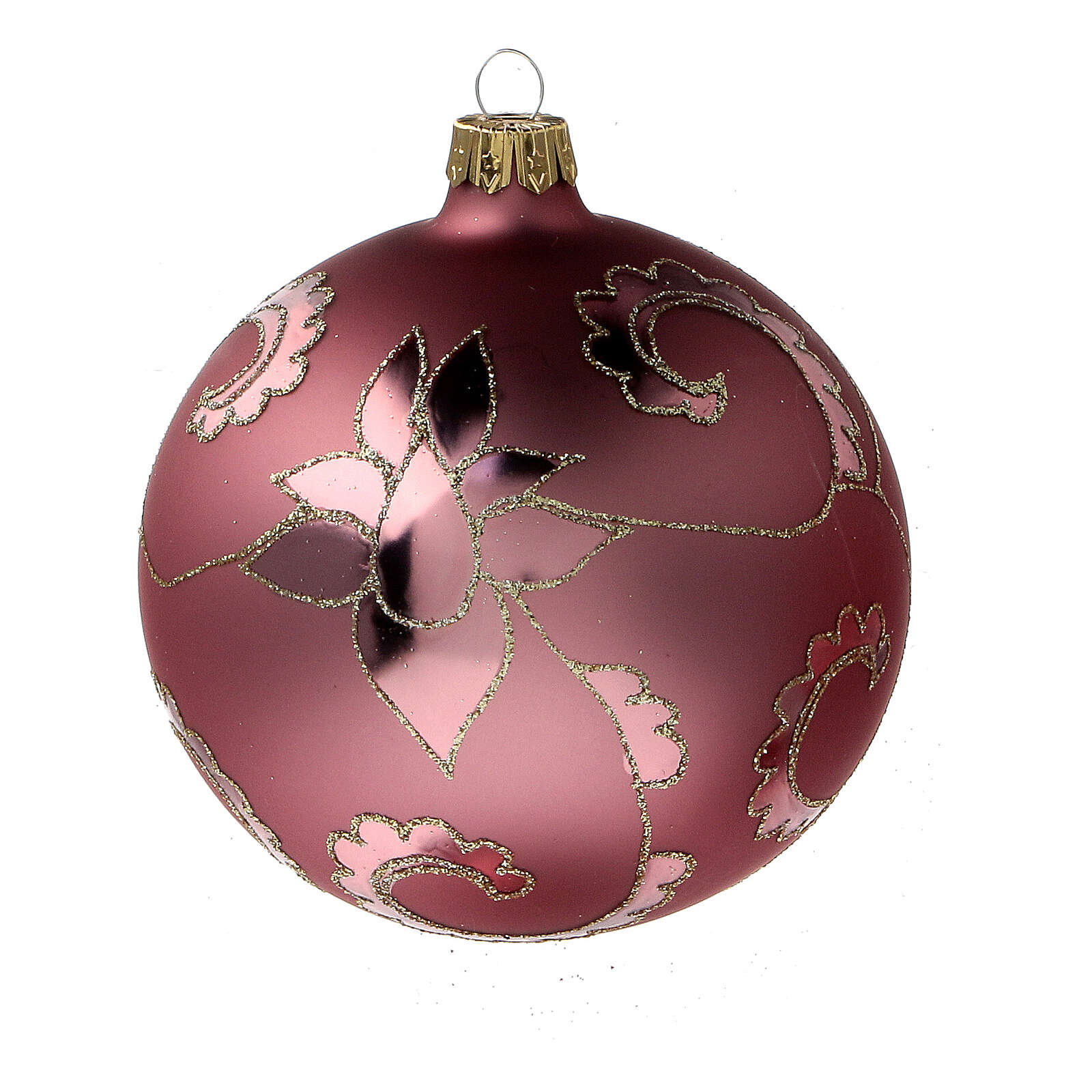 Christmas ball delicate red flowers blown glass 100 mm 4