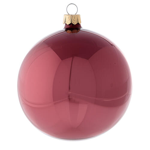 Mauve pink Christmas balls 100 mm in blown glass 4 pcs 2
