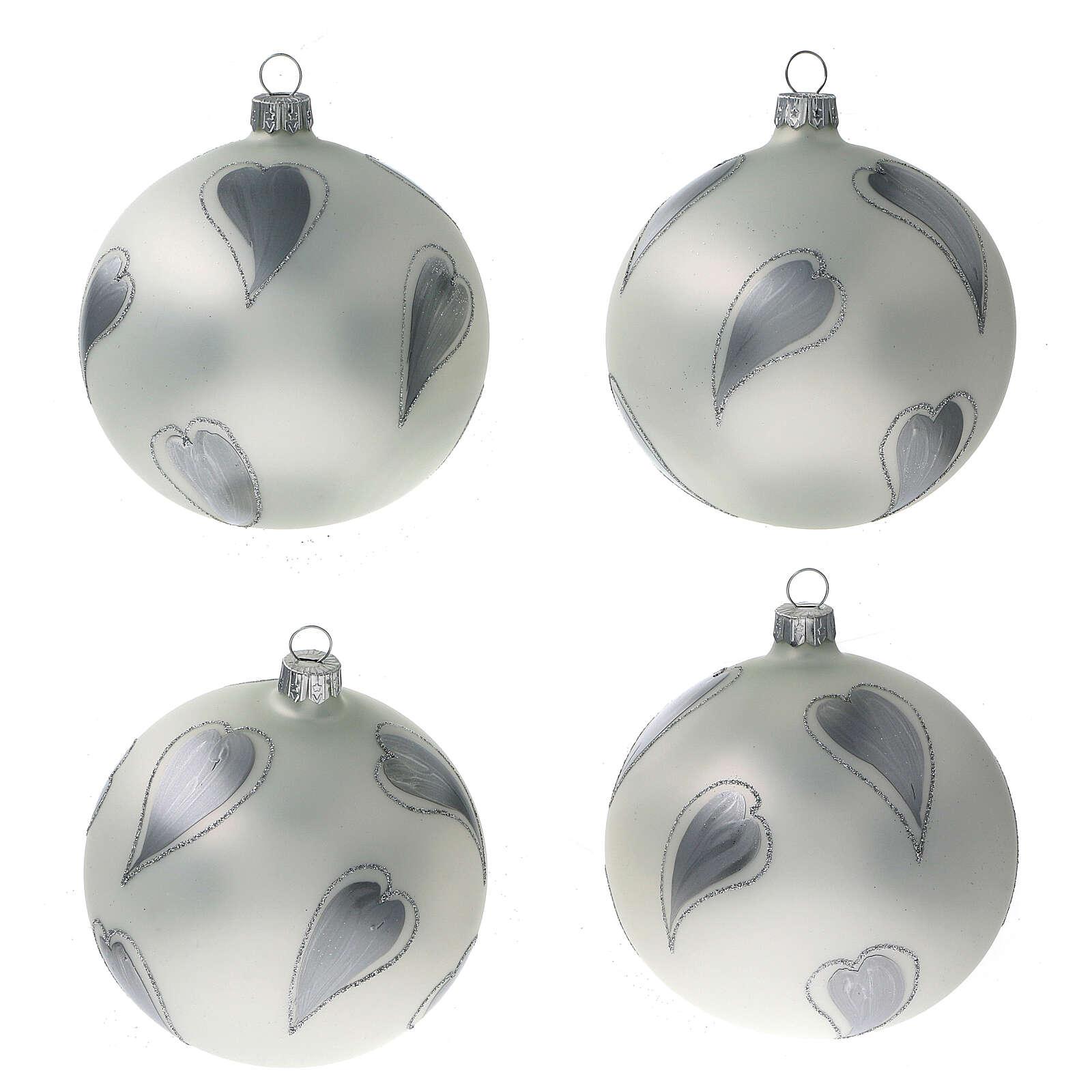 Pallina Natale bianco cuori argento vetro soffiato 100 mm 4