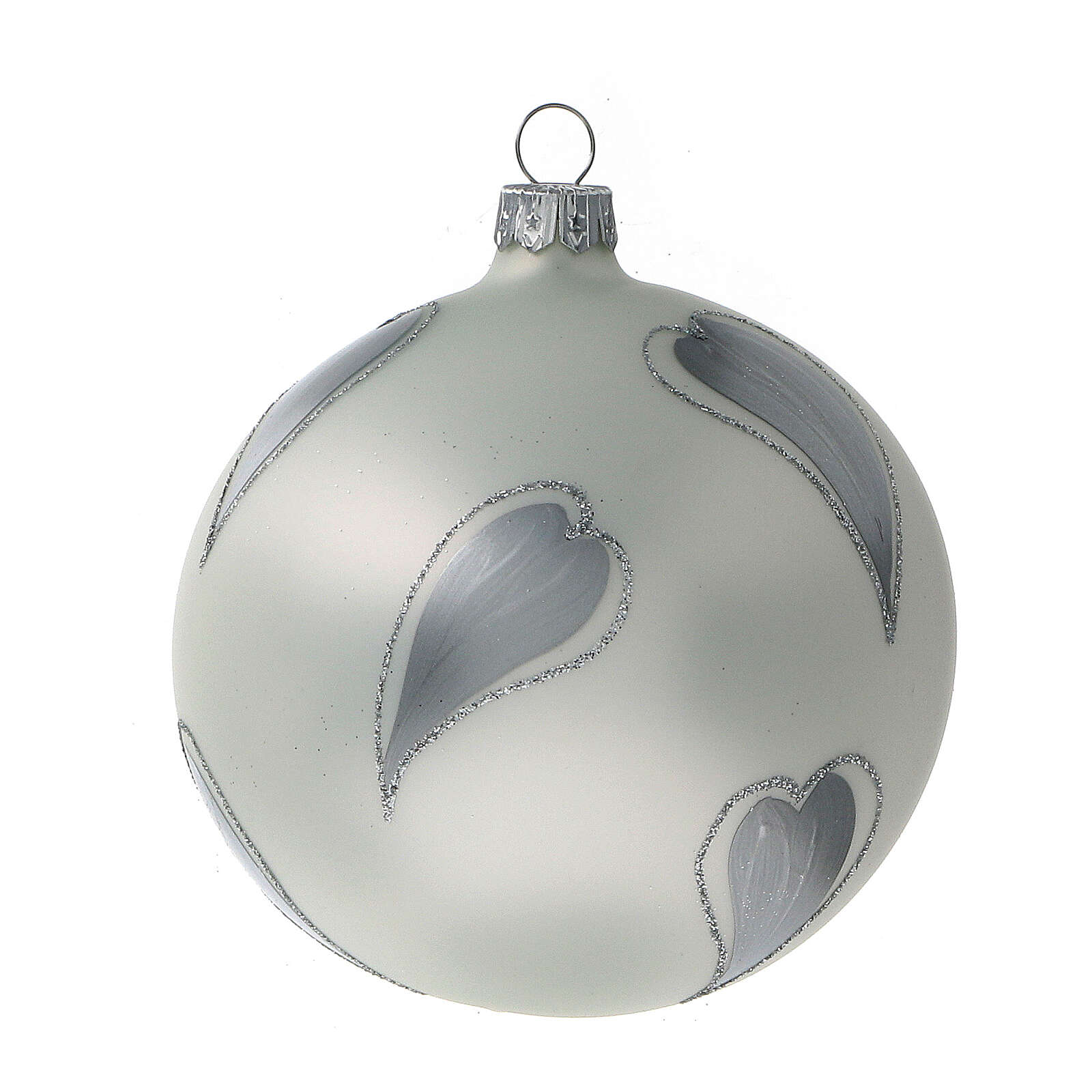 Bola árvore de Natal vidro soprado branco com corações prateados 100 mm 4