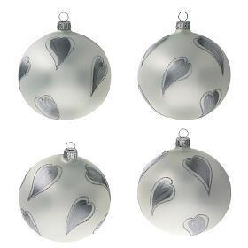 Bola árvore de Natal vidro soprado branco com corações prateados 100 mm s1