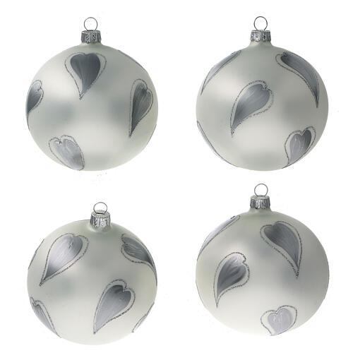 Bola árvore de Natal vidro soprado branco com corações prateados 100 mm 1