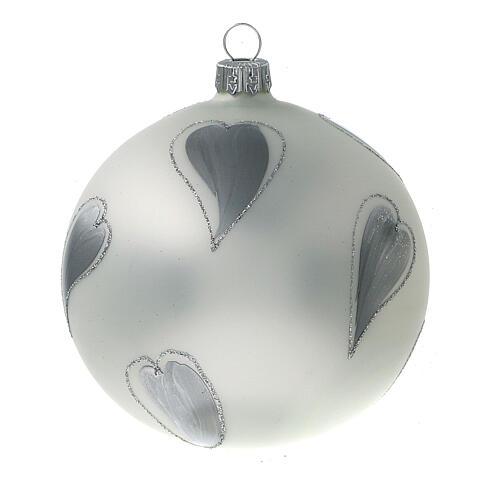 Bola árvore de Natal vidro soprado branco com corações prateados 100 mm 2