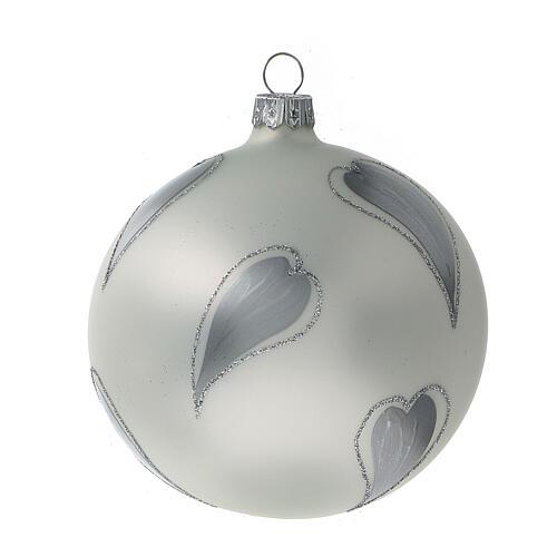 Bola árvore de Natal vidro soprado branco com corações prateados 100 mm 3