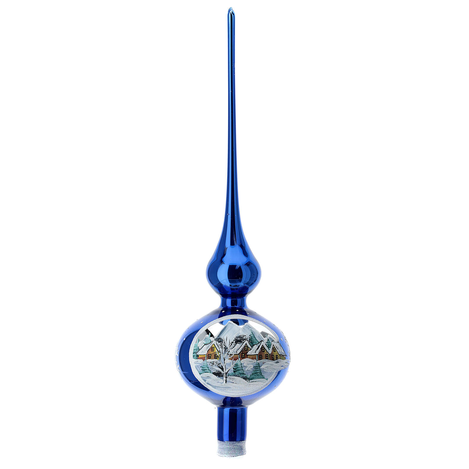 Shock blue tip Christmas tree snow-covered houses blown glass 35 cm 4