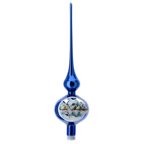 Shock blue tip Christmas tree snow-covered houses blown glass 35 cm 1
